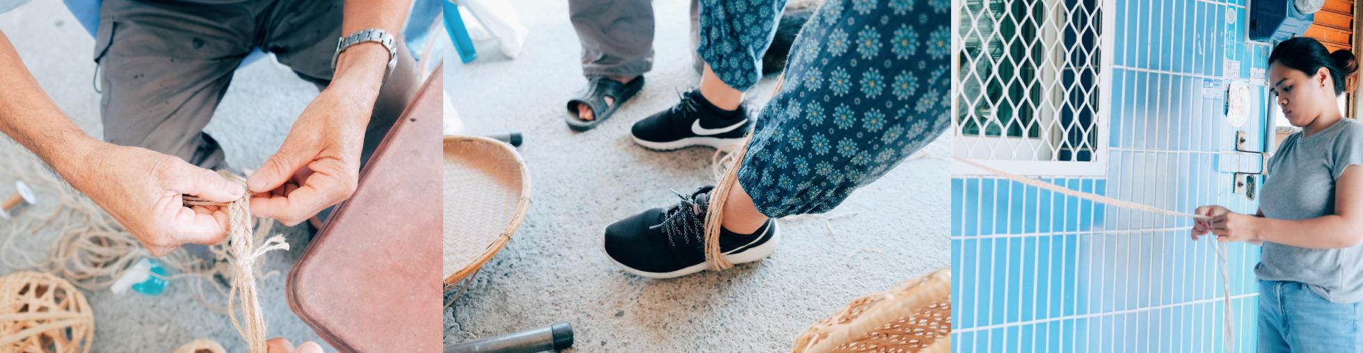 麻繩製作揹帶的過程,大家運用各種固定麻繩的方式編織揹帶。