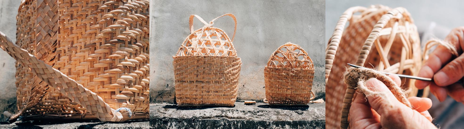 圖左:用籐皮製作的揹帶。圖中:一大一小的kaway都是由Roit阿公製作的。圖右:將麻繩縫製在kaway頭部。