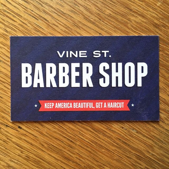 "#repost of the business cards we created for Vine Street Barber Shop which has been in business for 100+ years! . We especially love the client-provided tagline: ""Keep America beautiful, get a haircut."" 🇺🇸 . #memorialday #businesscards #bold #bolddesign #barbershop #vinestreetbarbershop #smallbusiness #localbusiness #marketing #golocal"