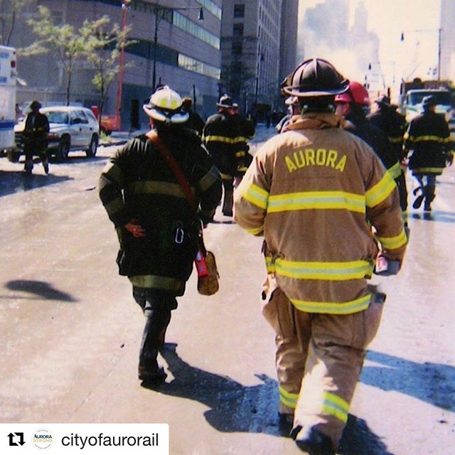 "#Repost @cityofaurorail with @get_repost ・・・ Six Aurora firefighters joined the Chicago area team who responded to New York City immediately following the terrorist attacks on September 11, 2001. After a non-stop sixteen-hour drive to New York, the Illinois contingent arrived in New York City on in the early-morning hours of September 13 and worked for four days.  They returned home, forever touched by the horrific events they witnessed.  When called a hero, one of Aurora's firefighters remarked, ""We are not the heroes, that's our job."" ____________________________________  Today, Aurora remembers this fateful day of 18 years ago during the annual memorial ceremony at 8:30 a.m. at the Aurora Central Fire Station, 75 N. Broadway. #WeRemember #neverforget"