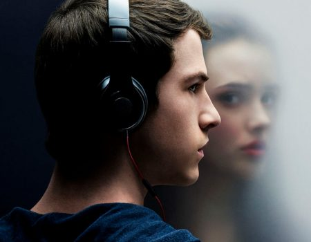 "Dylan Minnette as Clay Jensen and Katherine Langford as Hannah Baker in the Netflix series ""Thirteen Reasons Why"" ©2017 Netflix"