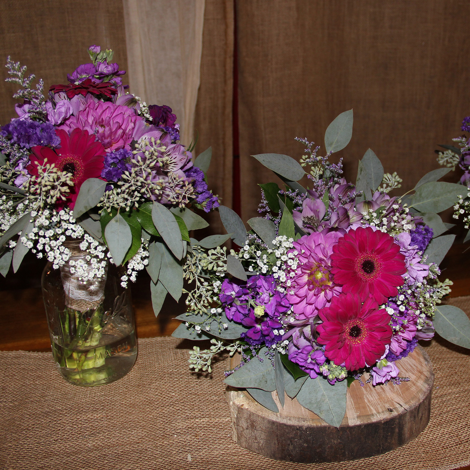 Amish Wedding wooden centerpieces-Middlefield Ohio-Flowers by Emily.JPG