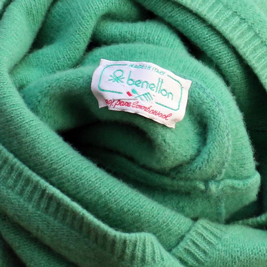 before green bennetton wool sweater lambswool.jpg