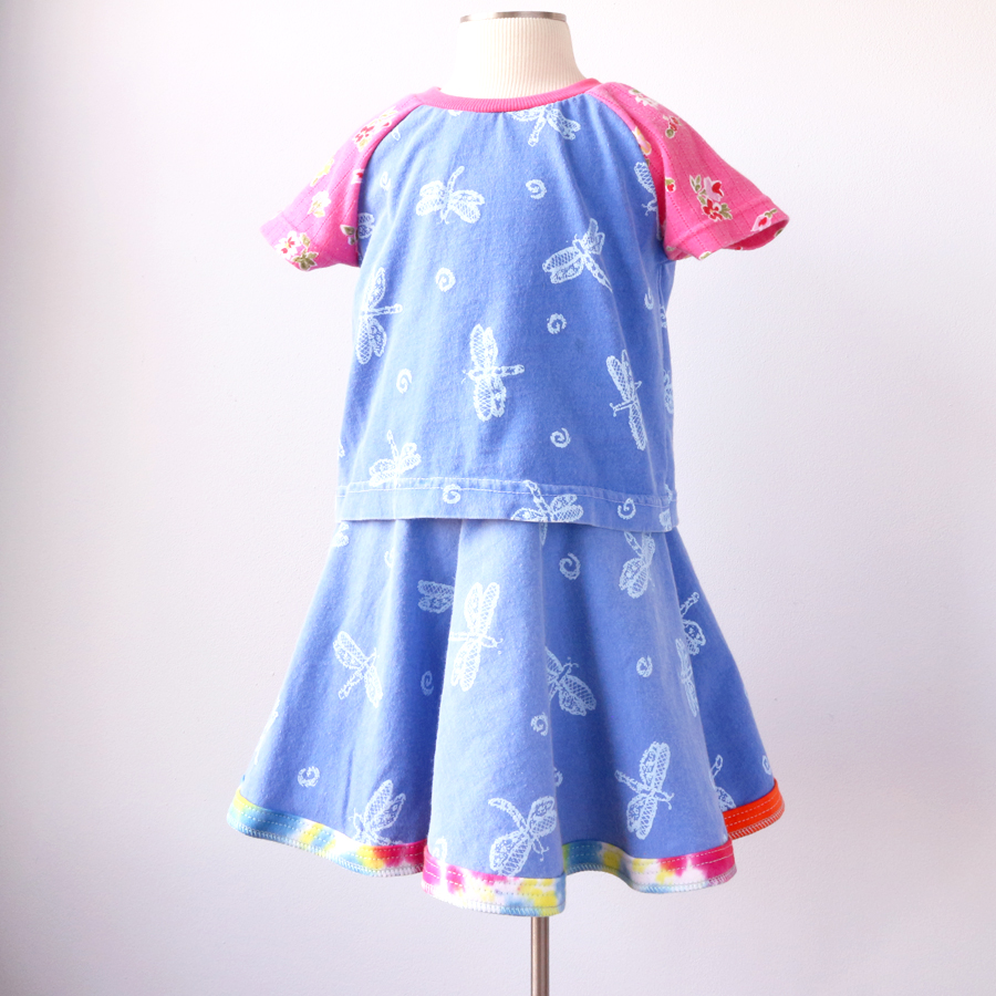form 5T dragonfly:blue:pink:floral:ss:skirt:set.jpg