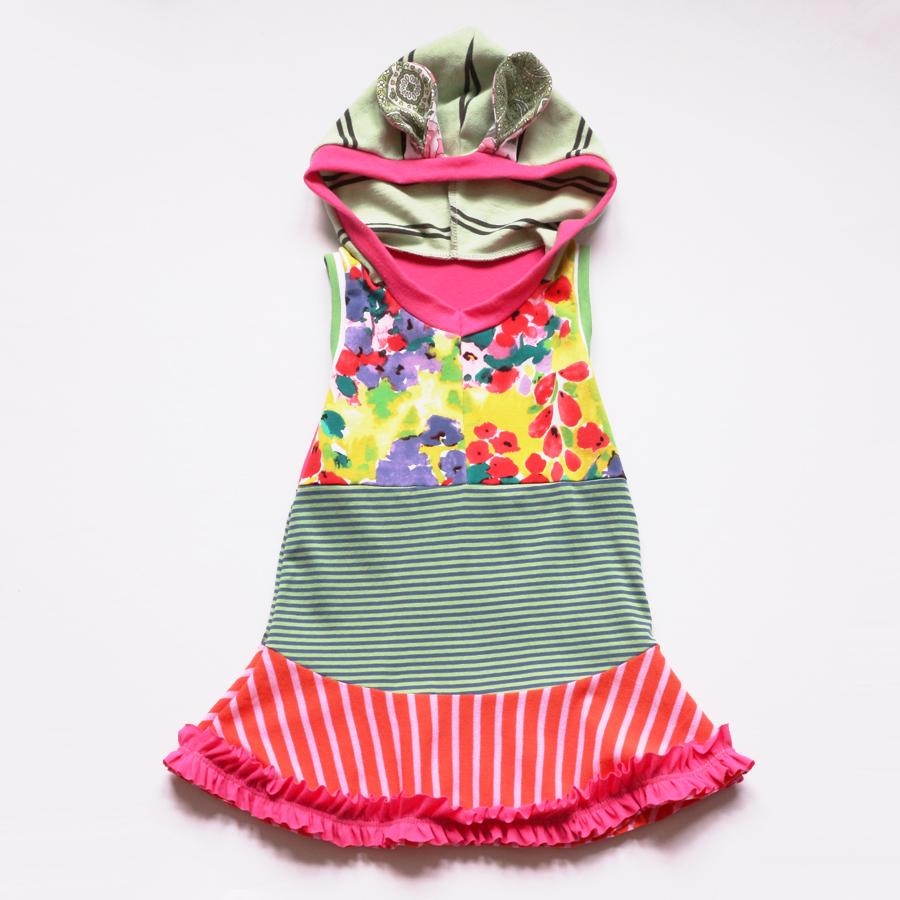 3T green:pink:stripes:ruffles:bunny:hoodie.jpg