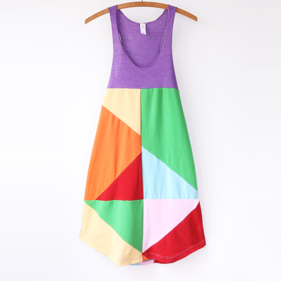 womens tank M rainbow colorblock patchwork.jpg