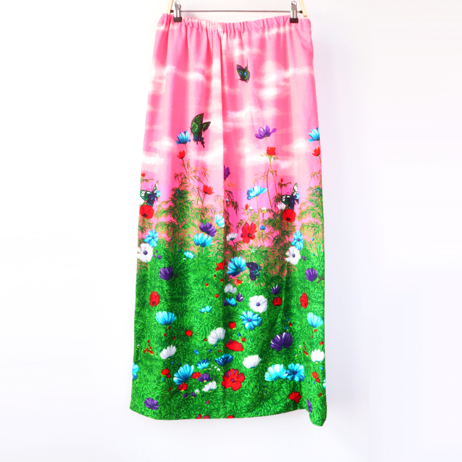 before vintage barkcloth floral butterfly pink neon green.jpg