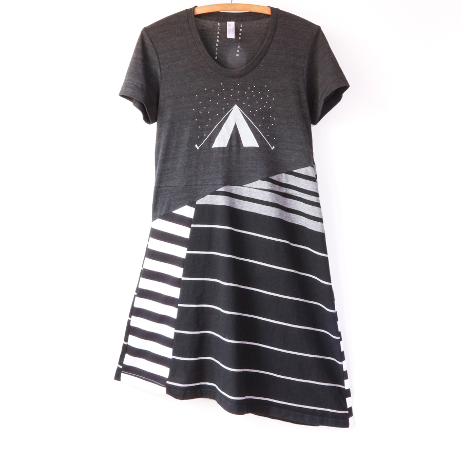 womens short sleeve M asymmetrical patchwork stripes.jpg