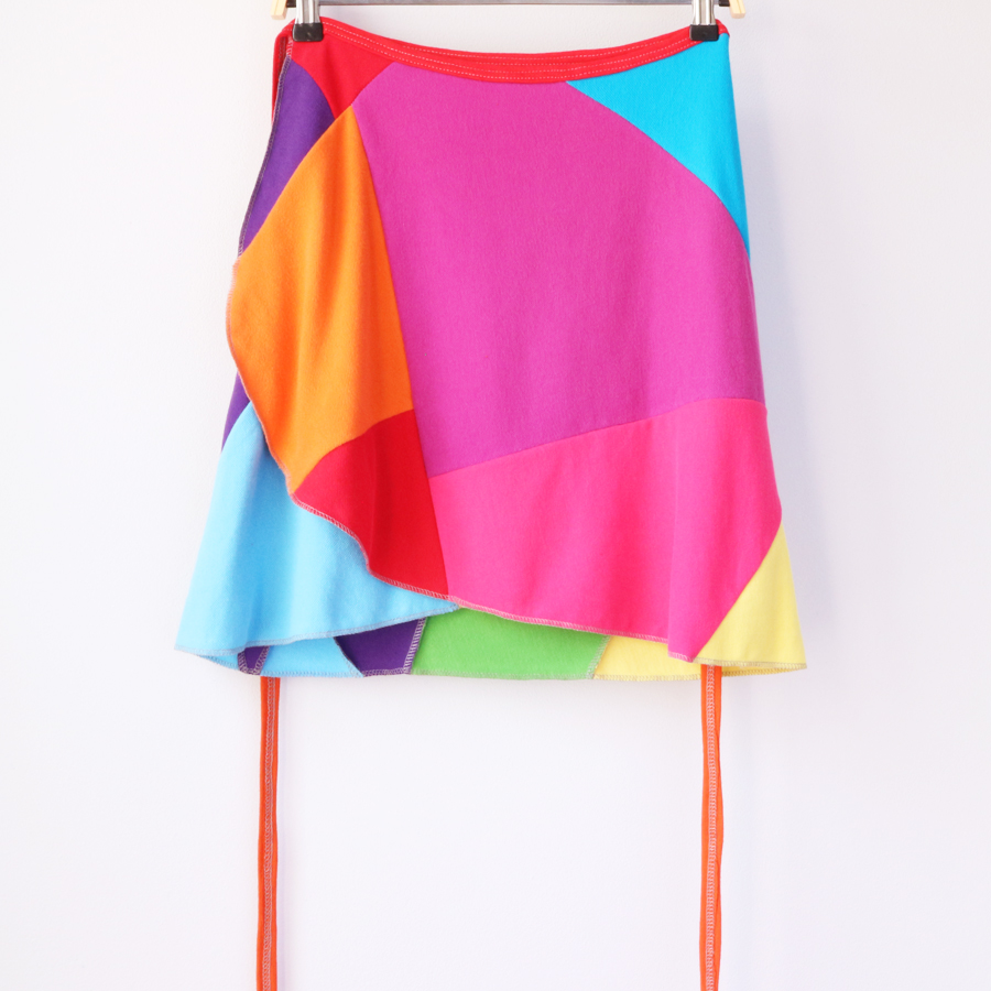 womens wrap skirt S:M rainbow colorblock patchwork.jpg