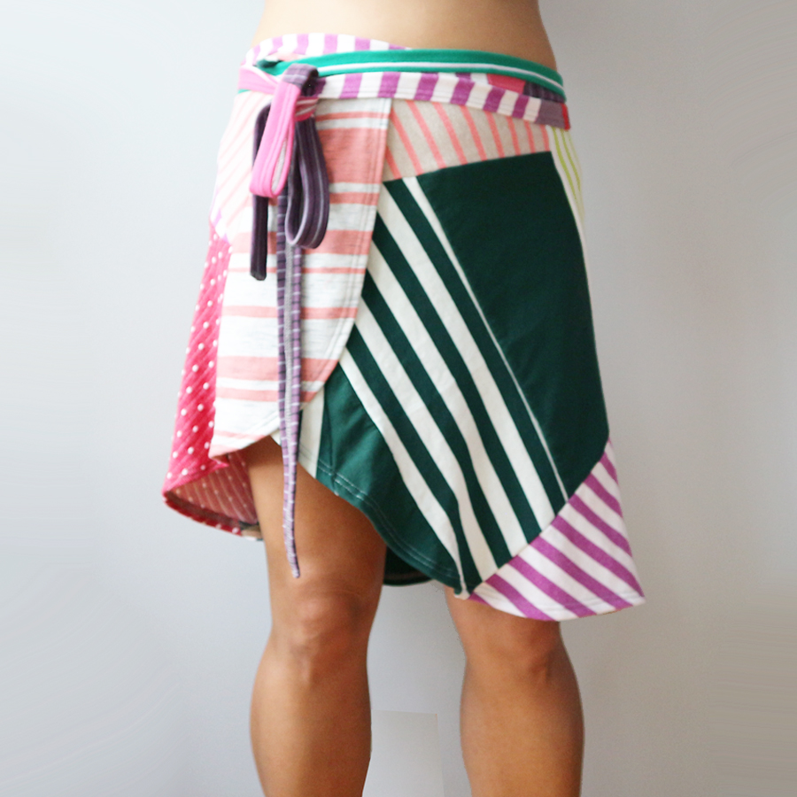 front womens wrap skirt M superstripe patchwork.jpg