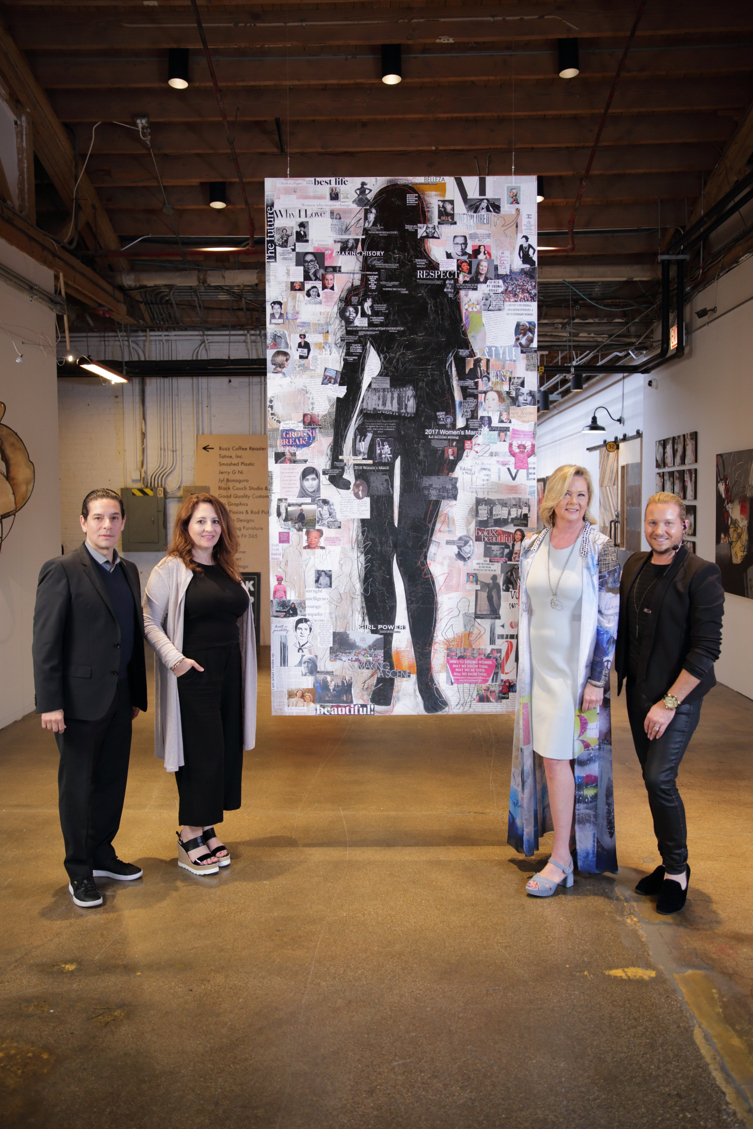 "(L to R) Joseph Nebolsky de Ochoa & Cathy Demetropoulos, (Czar Marcom), Linda Ann Weber, Constantine James (show director) in front of ""All That We Are"", Weber's homage to women's empowerment"