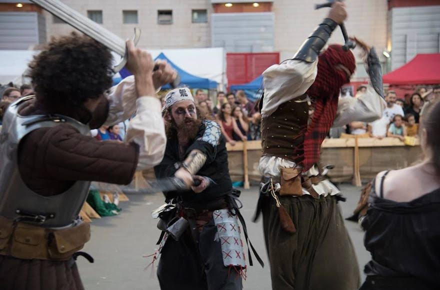 Role-playing fighters clashing at the Icon Festival in Tel Aviv, Oct. 18, 2016. (Courtesy of Icon Festival)