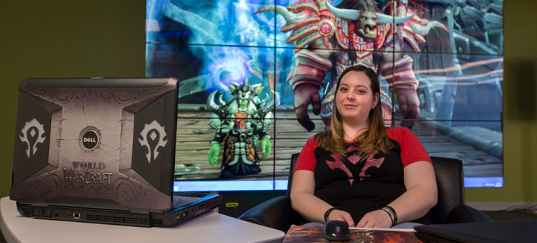 Elizabeth Short, a graduate student in industrial-organizational psychology, poses in front of her World of Warcraft character. Sam O'Keefe/Missouri S&T