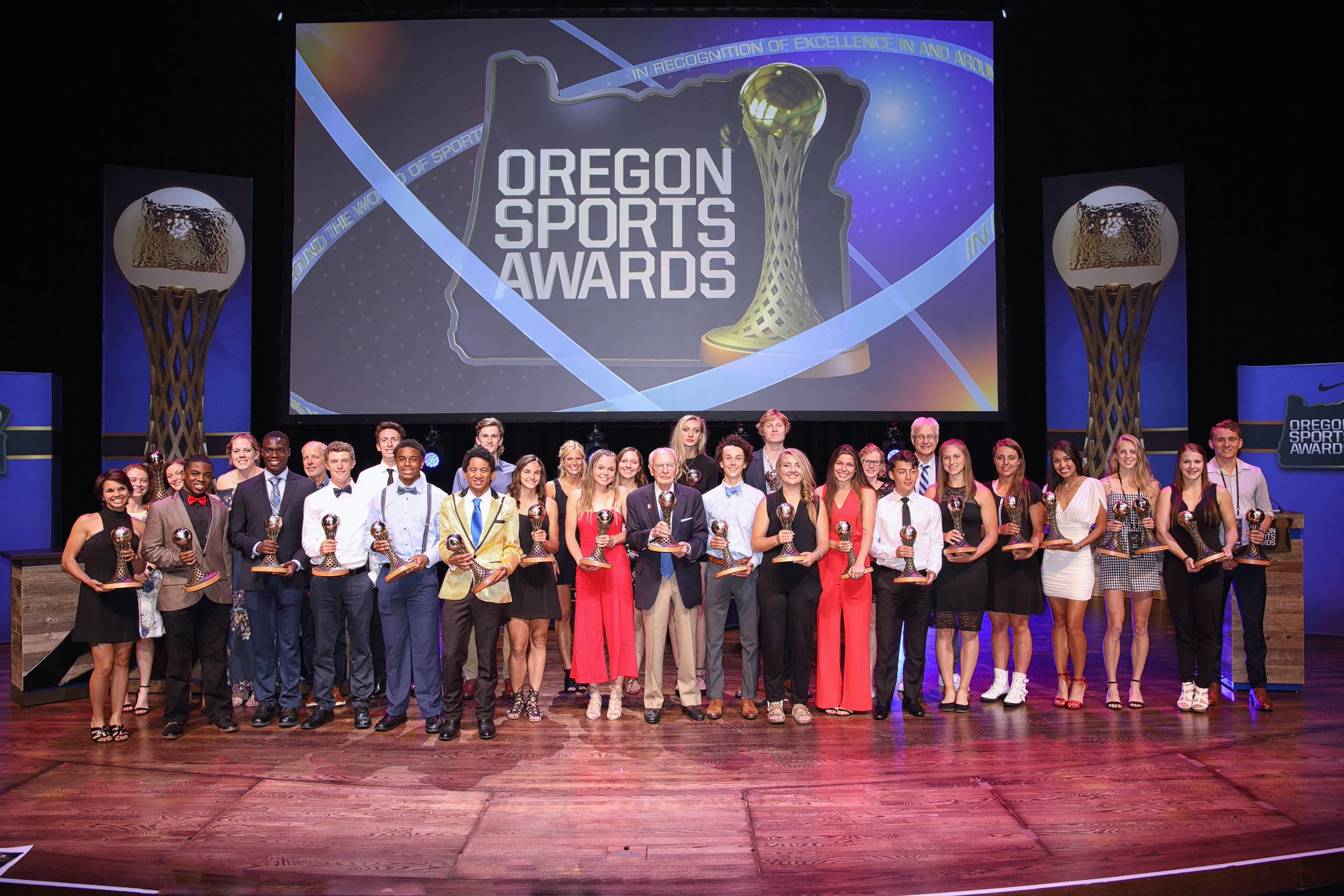 2018 award winners. Notable names include Damian Lillard (Portland Trail Blazers), Diego Valeri (Portland Timbers), Mark Parsons (Portland Thorns), Sabrina Ionescu (Oregon Ducks), Nick Madrigal (Oregon State Beavers), Cameron Brink (Southridge High), Micah Williams (Benson High) and Marcus Tsohonis (Jefferson High).