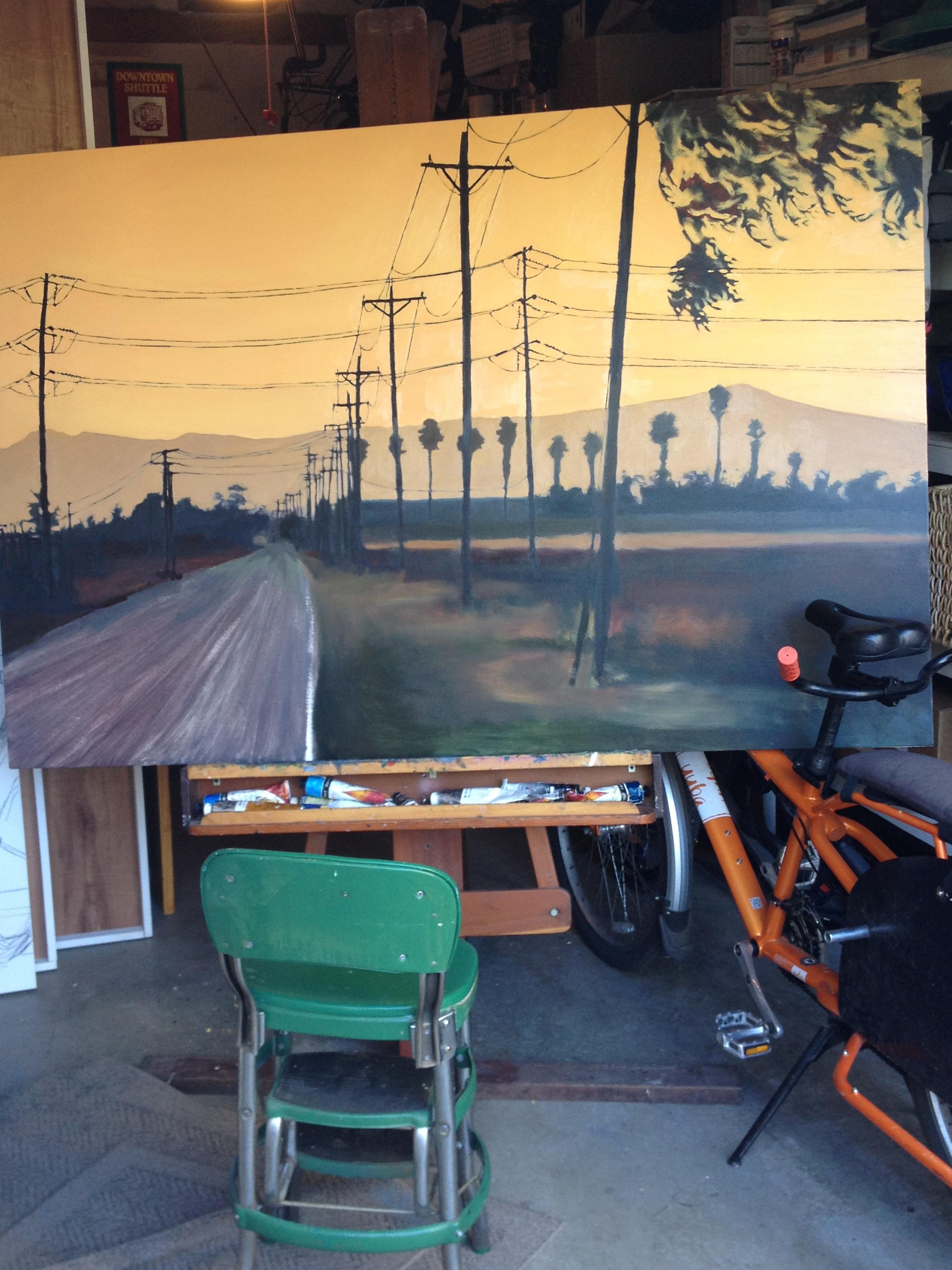 """Gibson Road, Sunset"" in progress. October 2014."
