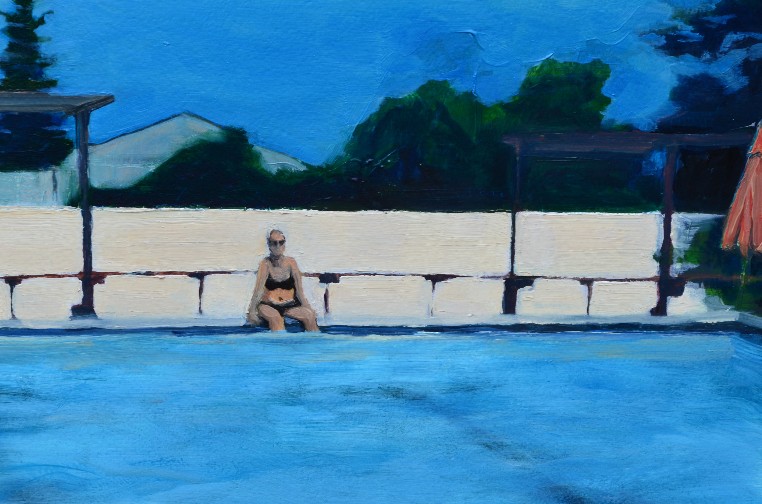 Pool , detail.  2014. Oil on Panel. 15.75 x 30 inches. sold.