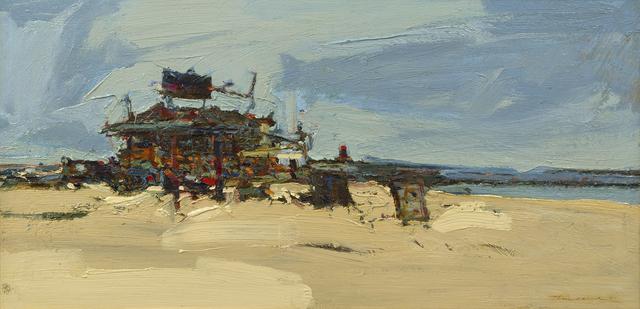 Thiebaud, Wayne. Beach Shop. 1960. Oil on canvas. 18 x 36 inches.