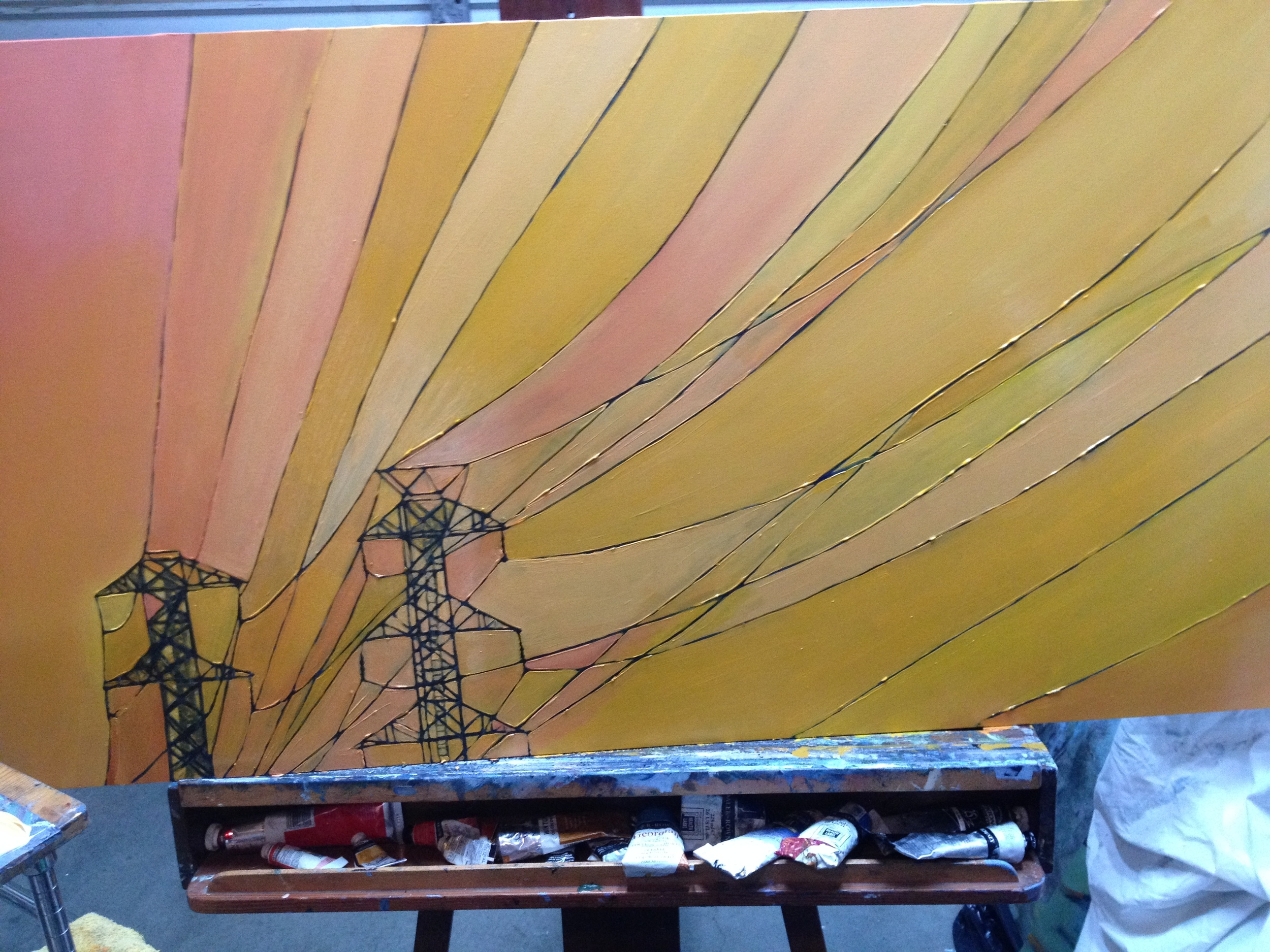 Towers, Yellows , in progress.