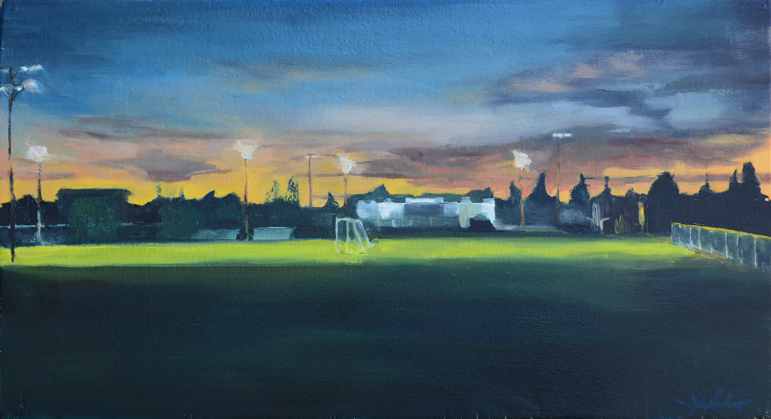 Davis High Sports Fields. 2014. Oil on panel. 22 x 12 inches.