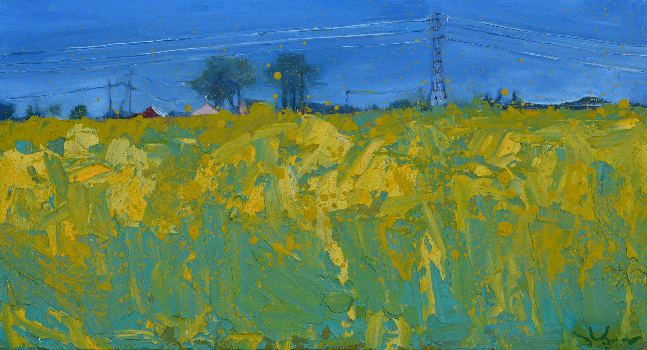 """Canola Field . 2015. Oil on panel. 22 x 12 inches. The day I painted this piece I was not alone. During the painting I took several breaks to spread manure, a most inspiring chore- why, if not for hope and longing of enrichment, would one bother?; I conversed with someone who was intrigued by what and why I was painting; I conversed with another person who thought that I shouldn't lose my day job. But, I was not alone. It was was late spring. I felt like I was stretching my roots down into a place of warmth while being drawn up into the light of human interest. I originally called this painting """"A Growing Joy""""."""