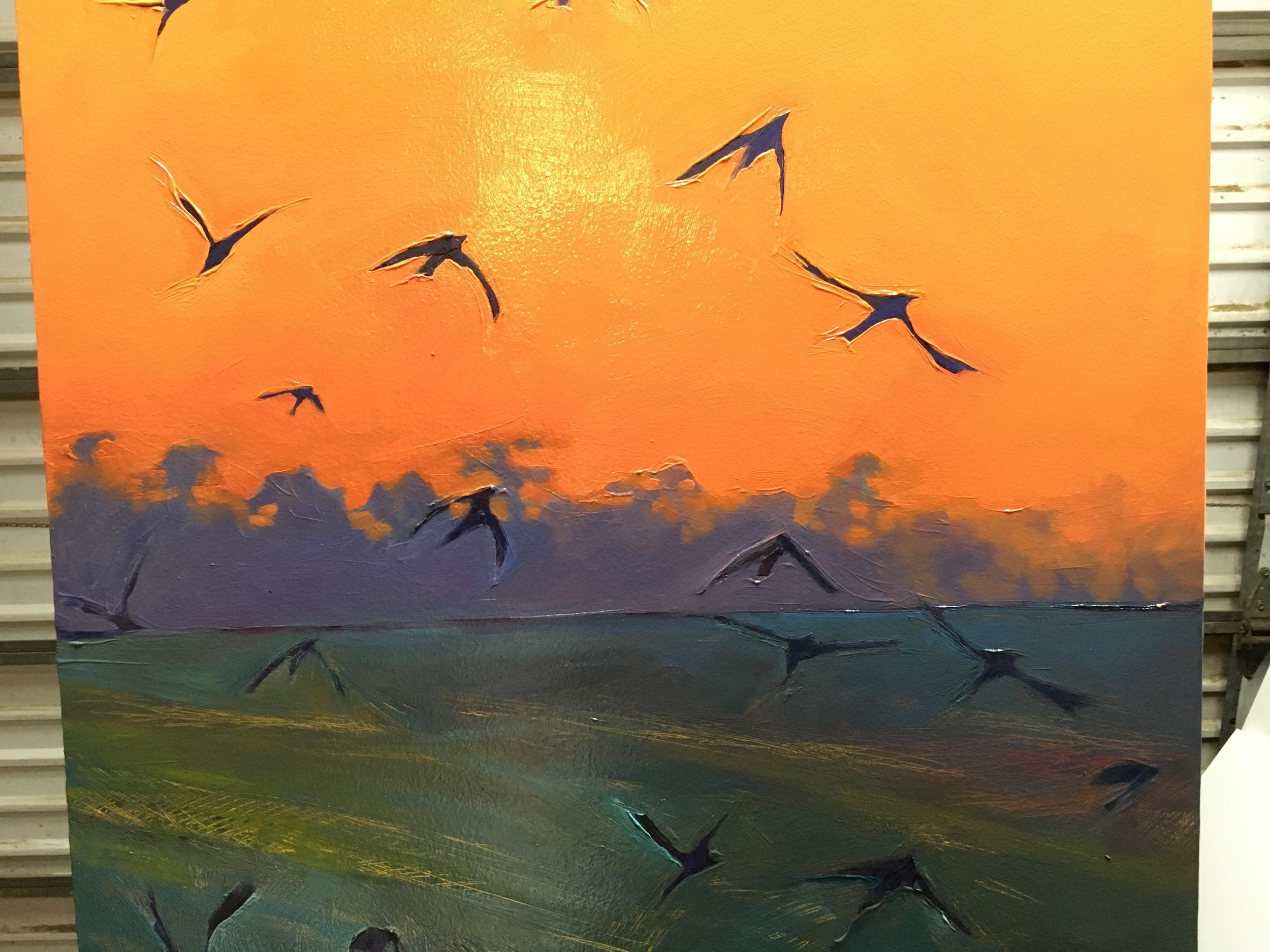 Dawn Flight, in progress.  2015. Oil on panel. 23 x 50 inches. SOLD