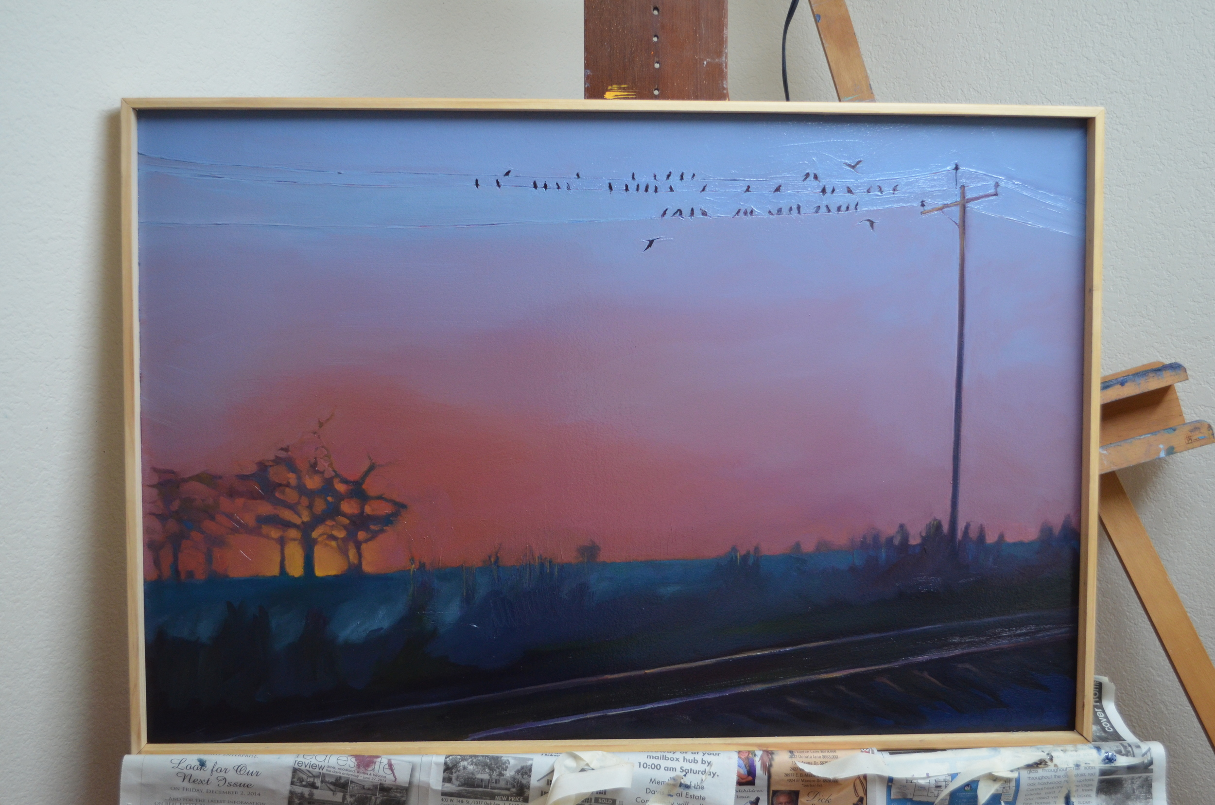 I conjured up some pretense in the end, letting there be a more brilliant, warmer color and precision to the silhouetted set of trees and softening the grasses along the tracks.   Lullabye. 2015. Oil on Panel. 24 x 36 inches. sold.