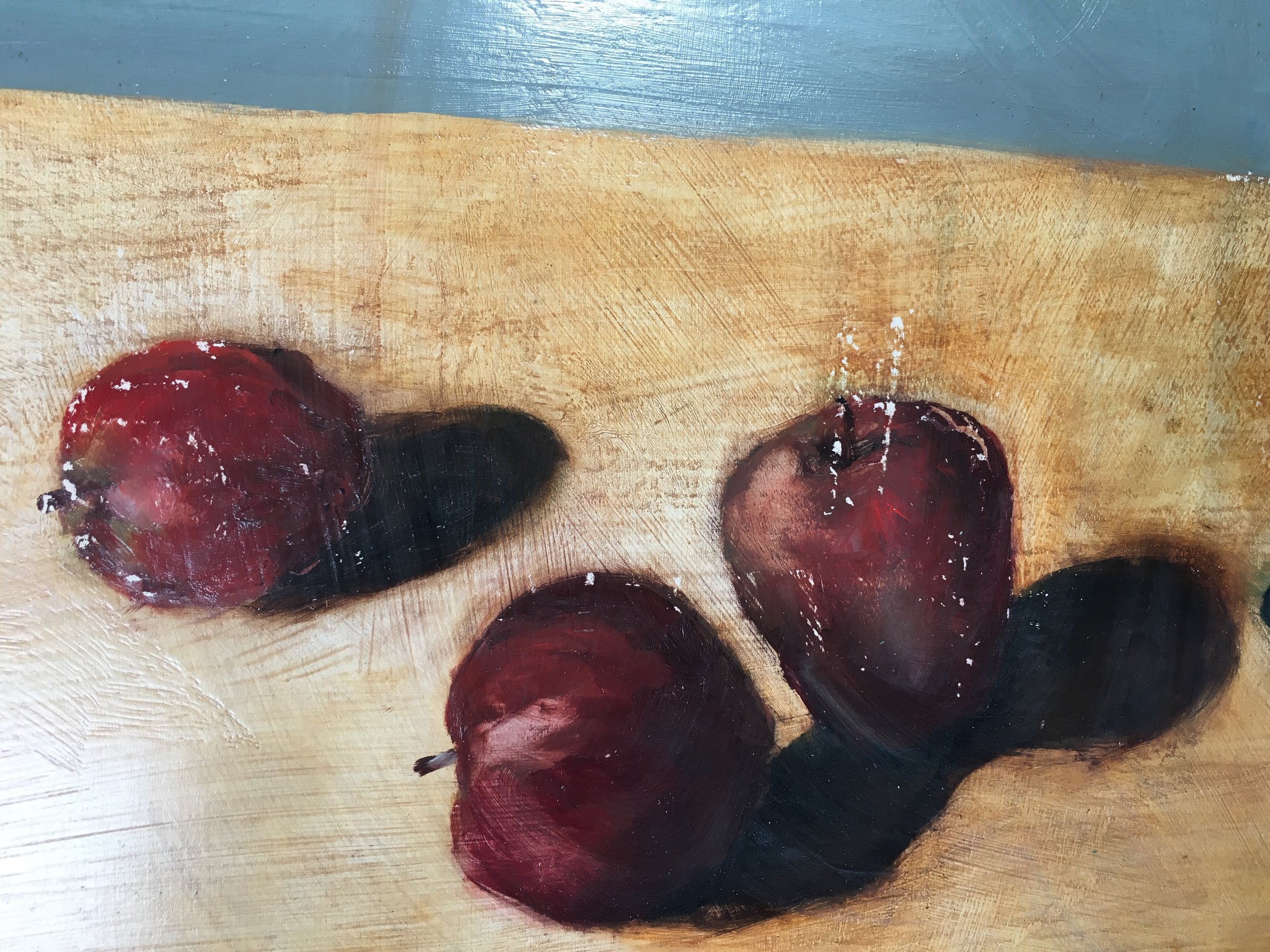 """detail from """"Apples, Wilted Sunflowers"""". 2000. Oil on Panel. 36 x 24 inches."""