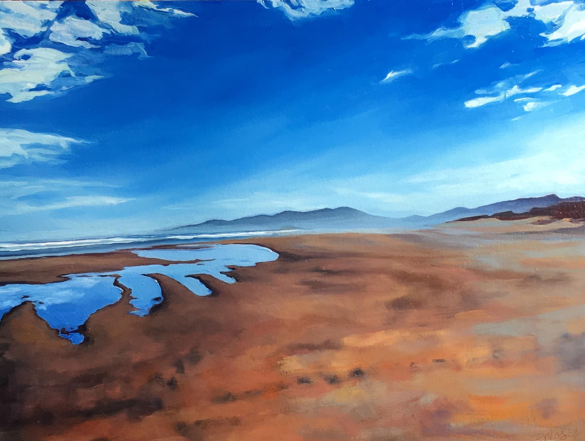 Beach, Blue Puddles