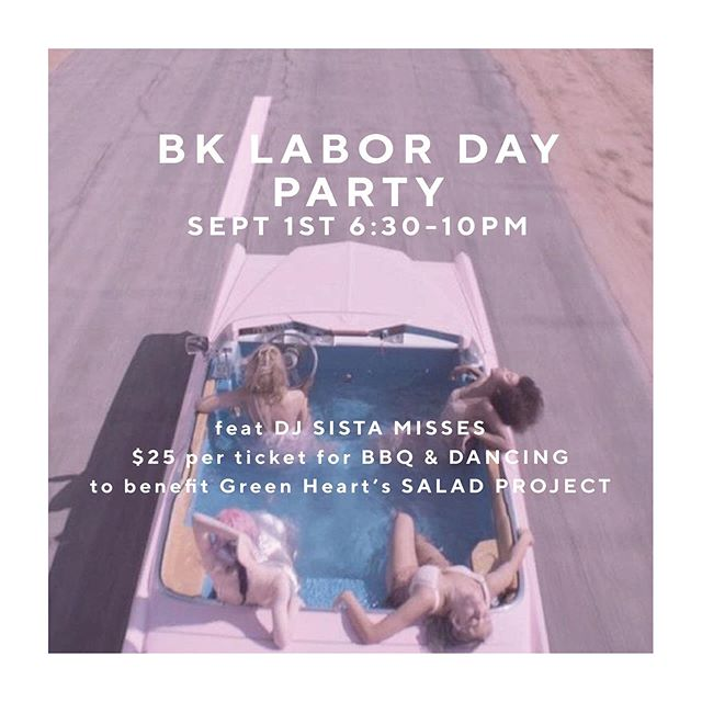 🎉Happy Friday! 🎉 .  If you don't have plans yet for Labor Day Weekend, join us at @basickitchen on Sun., Sept. 1 for a Labor Day Party to celebrate the end of summer right and the BK Salad Project! Tickets are just $25 for awesome food 🍗 and all proceeds benefit @GreenHeartCHS's 'Back to School Initiative'. We'll also have some groovy beats by @samiramiche, and enter to win an epic raffle prize. Buy tix thru the link in our profile 🙌🏽🌈🎉💋 .  #bksaladproject