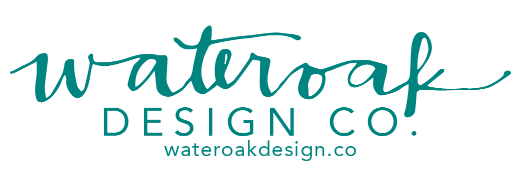 This is the logo for my small business, Wateroak Design Co. The Wateroak is hand-lettered, and our work is available at wateroakdesign.co!