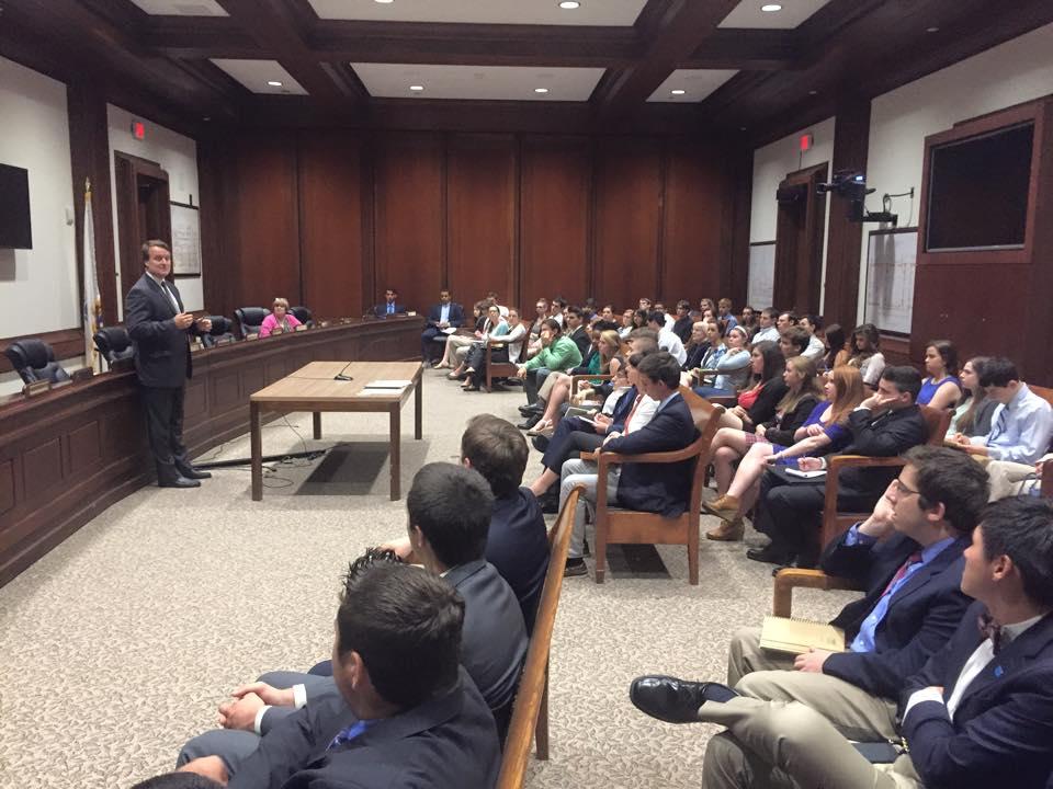 Sen. Moore speaking with Interns 6-25-15.jpg