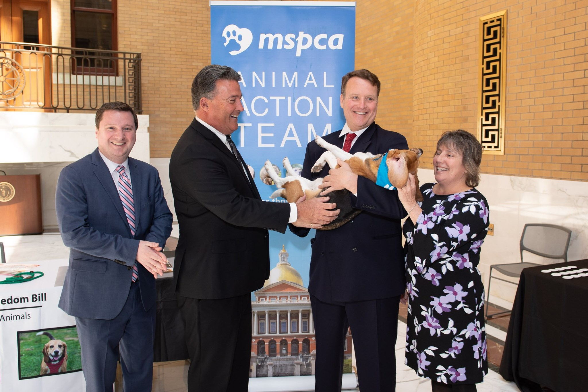 Pictured (L-R): Senators Patrick M. O'Connor (R-Weymouth), Mark C. Montigny (D-New Bedford), Senator Michael O. Moore (D-Millbury) and Senator Anne M. Gobi (D-Spencer) with the retired research beagle named Louie.