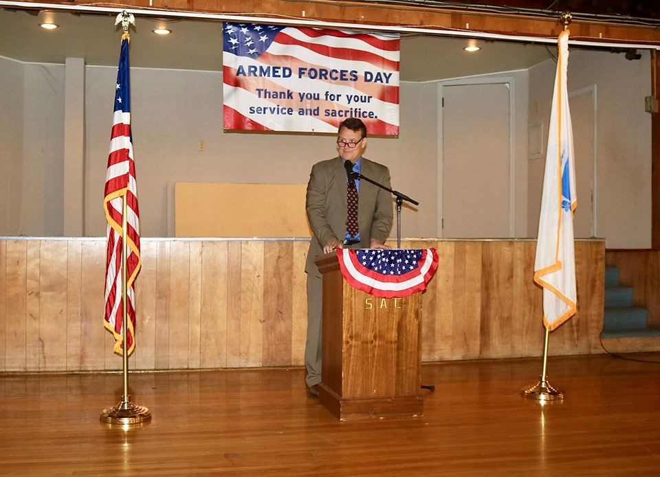 Sen. Moore speaking at the fifth annual Armed Forces Day celebration held in Shrewsbury which was organized by Representative Hannah E. Kane (R-Shrewsbury).