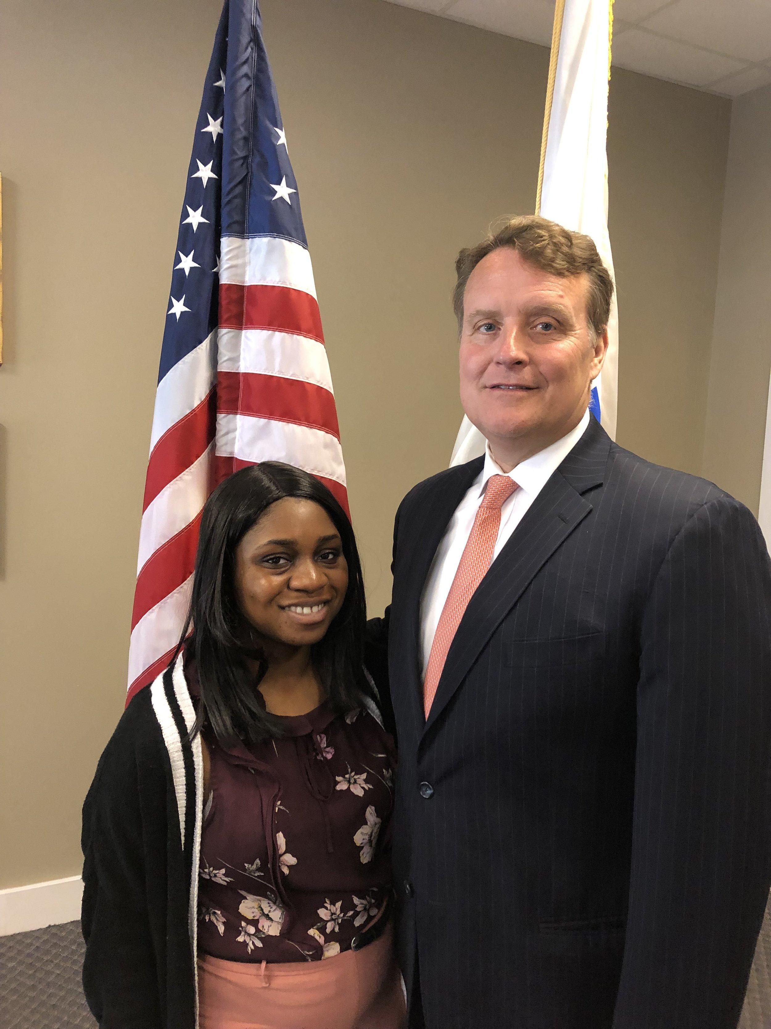 Senator Michael O. Moore with intern Alvira Bonsu, a Worcester native.