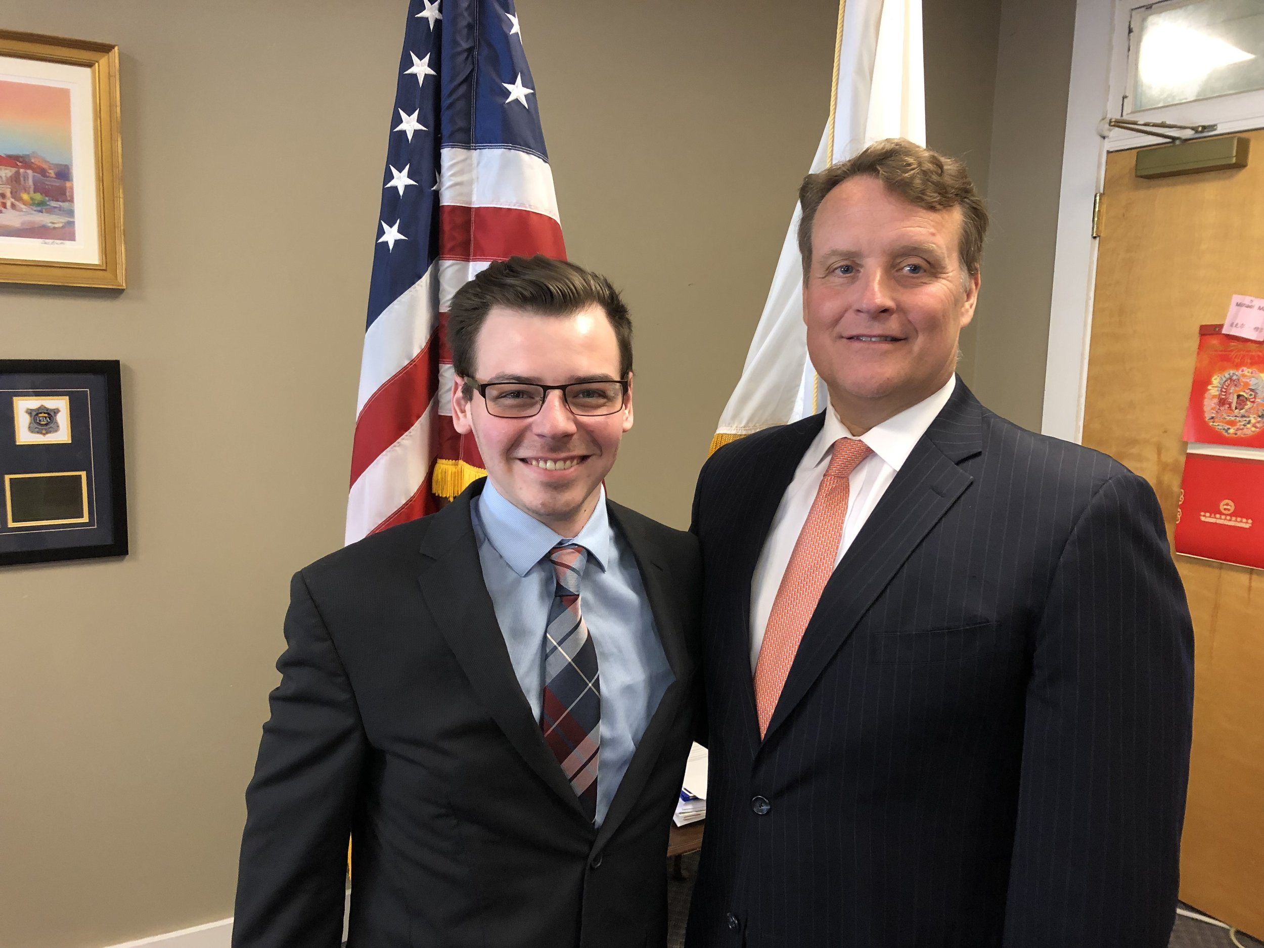 Senator Michael O. Moore with intern Christopher Quigley, a Millbury native.