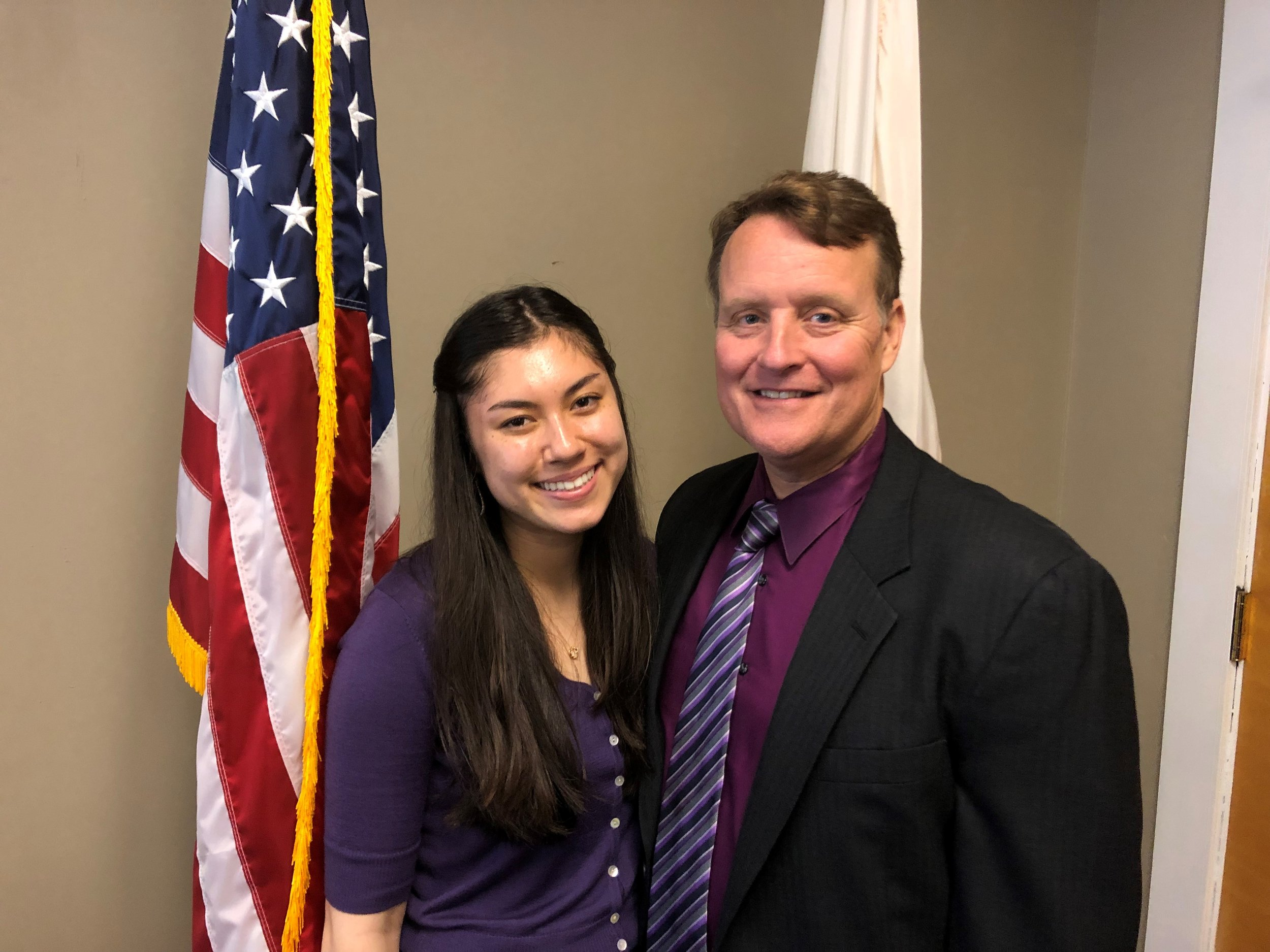Pictured: Senator Michael O. Moore with intern Katelyn Buckley, a Shrewsbury native.
