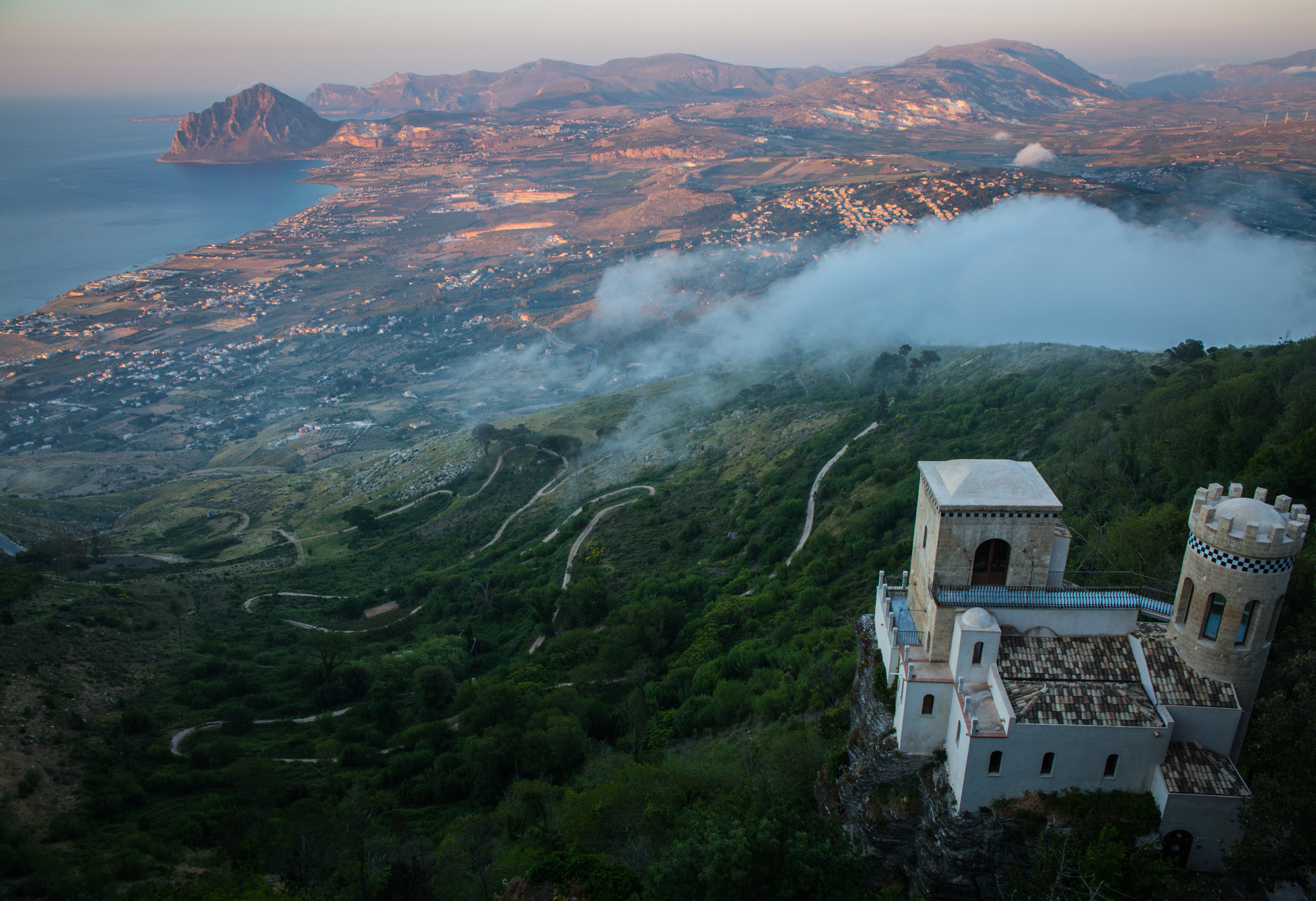 The top of Erice, Sicily, where I experienced one of the most stunning sunsets in May