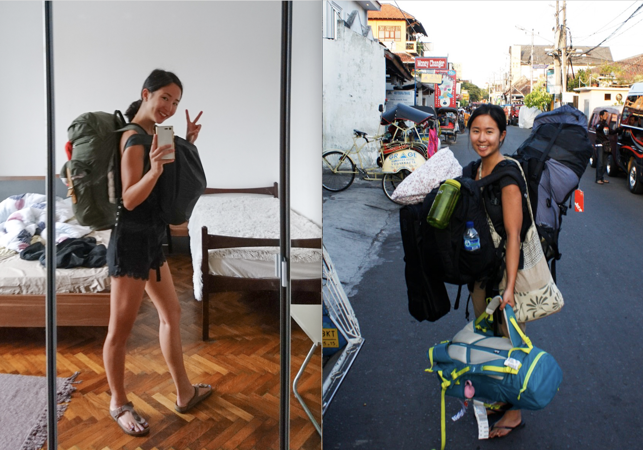 I've also gotten better at packing light through the years. On the left is all the luggage I brought with me for a month to Eastern Europe. On the right is all the luggage I brought with me to Indonesia in 2012.