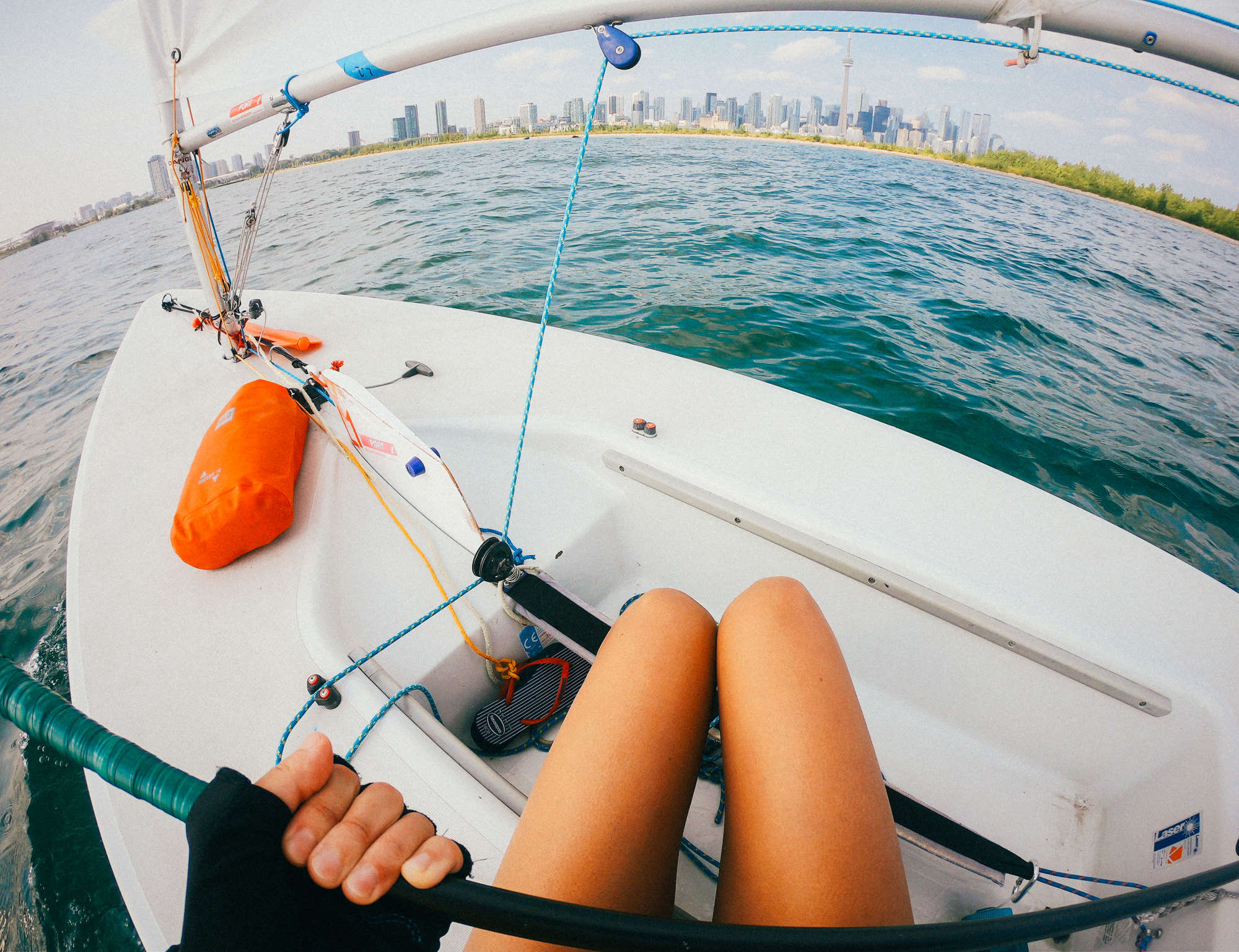 Sailing around Toronto Islands without a crew.