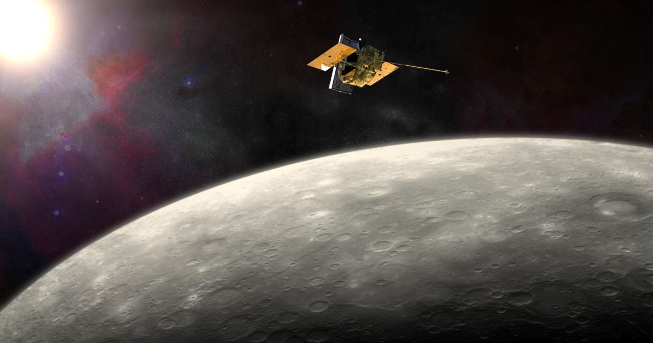 An artist's impression of NASA's  MESSENGER  spacecraft orbiting Mercury.  MESSENGER  was an incredibly successful Discovery-class mission (which means it was relatively low cost by NASA standards) that I worked on before leaving academia for industry. (NASA/JHU-APL/CIW)