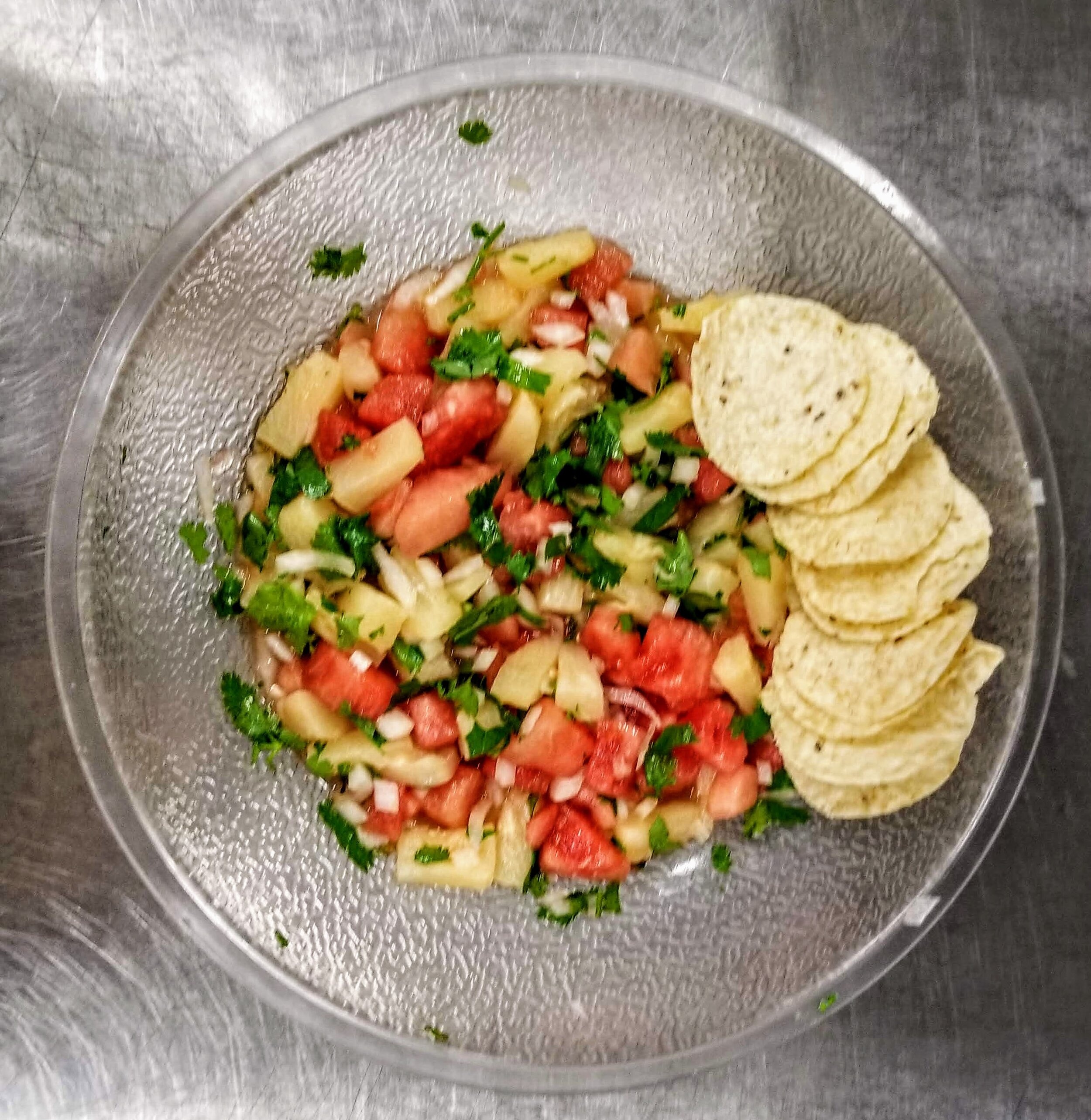 Watermelon and pineapple salsa at Lake Travis Middle School.
