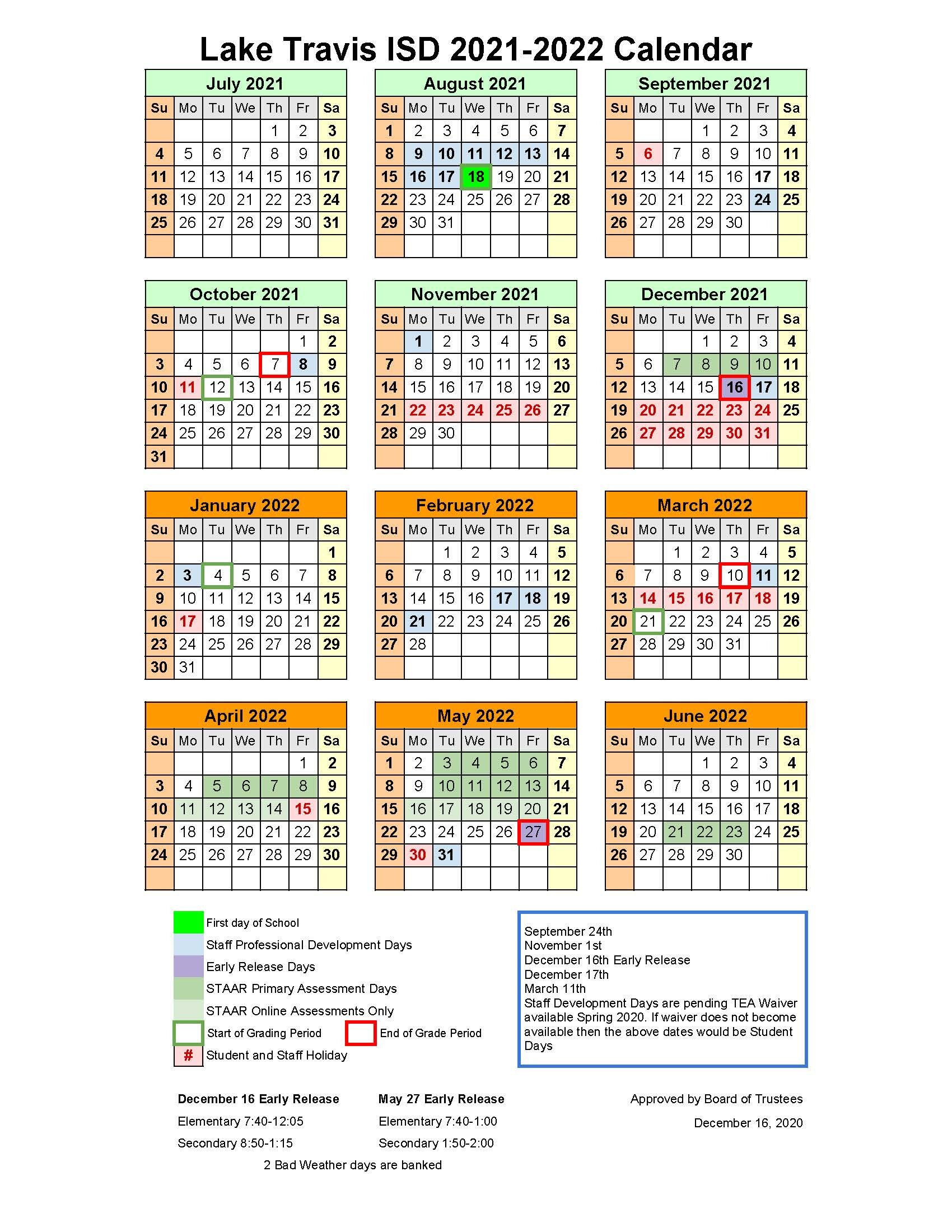 Primary Calendar 2022.Board Adopts Ltisd 2021 2022 Instructional Calendar Pending Waiver Currents