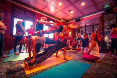 Teaching acroyoga at Morning Gloryville