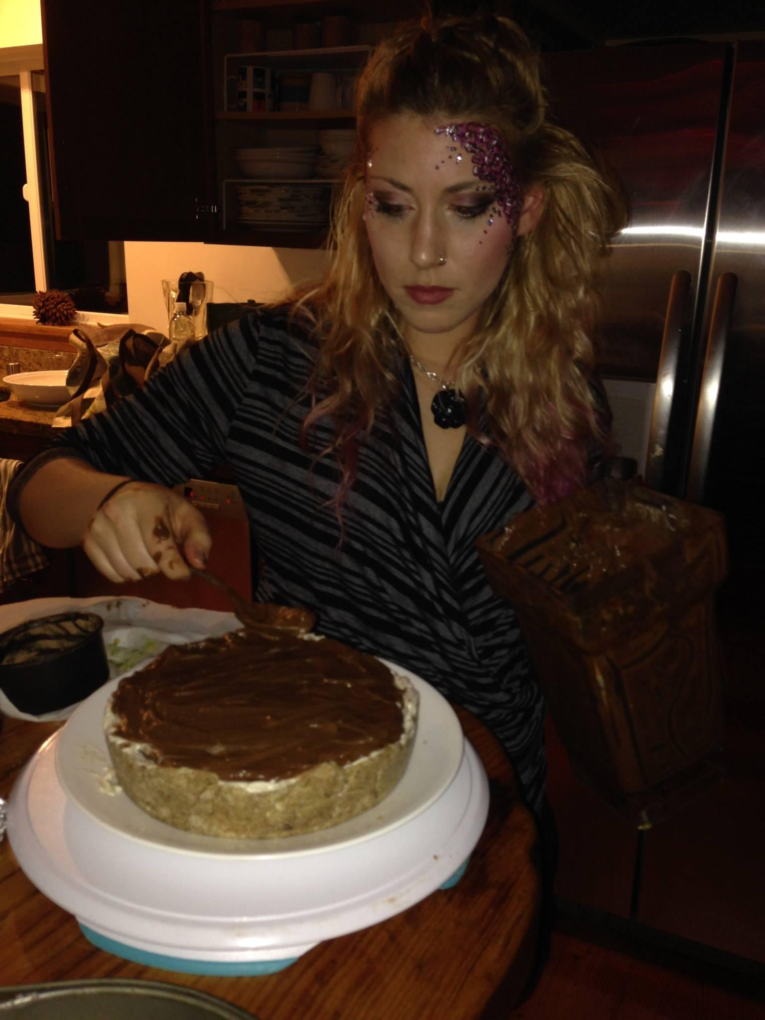 Making Lindsay's raw vegan coconut vanilla cashew ice cream chocolate mousse bleeding-heart Lupercalia Love cake