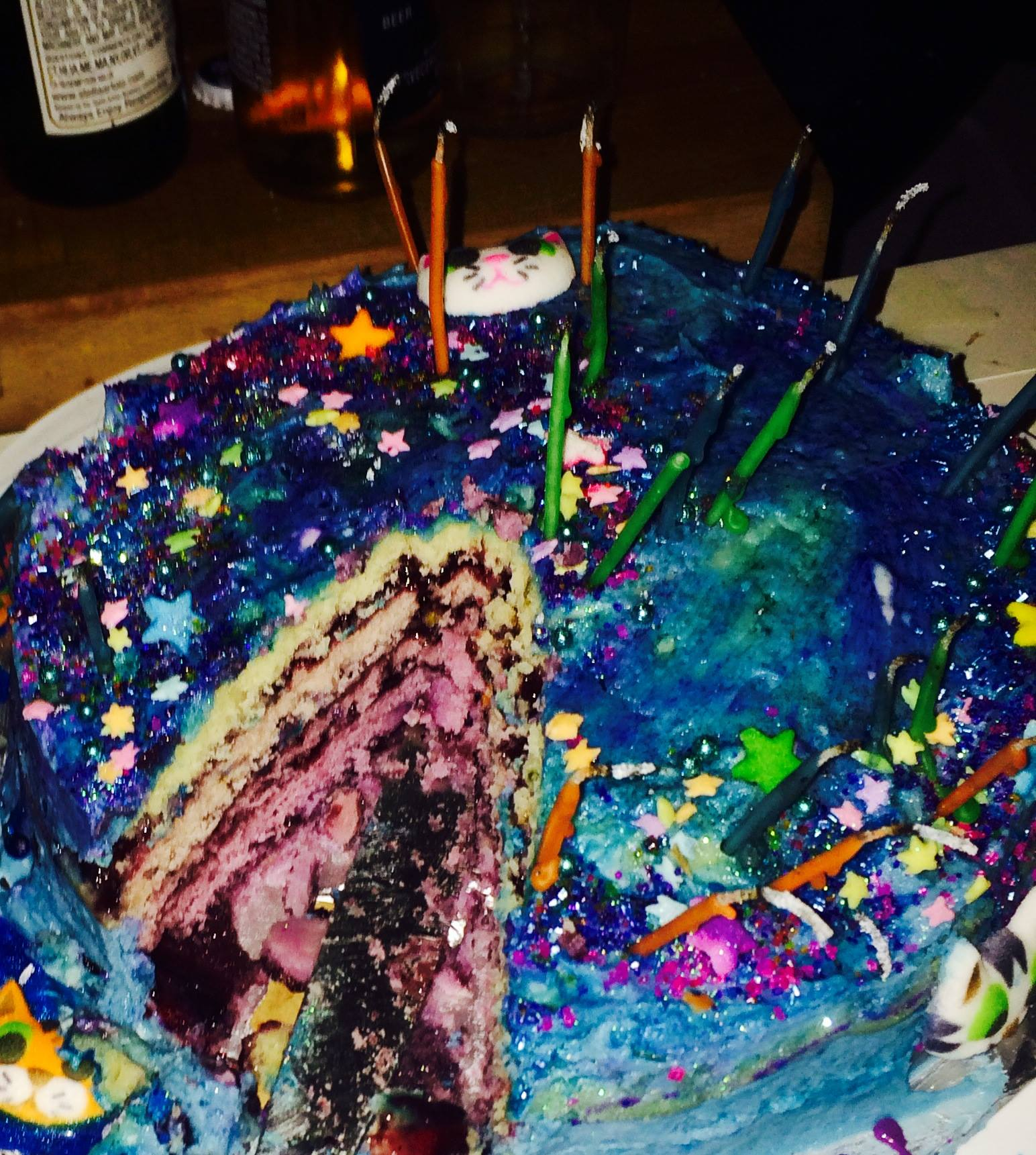 Barbara's 5 layer lavender sparkle space cat cake