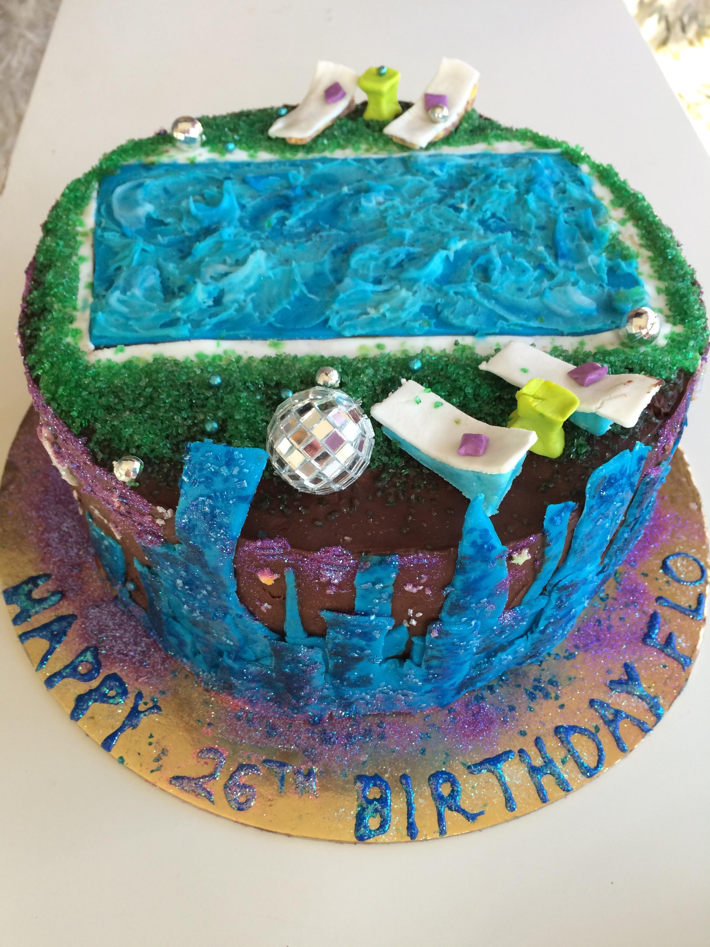 Florence's Disco City Pool Party Minx Lavender Coconut Vanilla Ice Cream Cake.