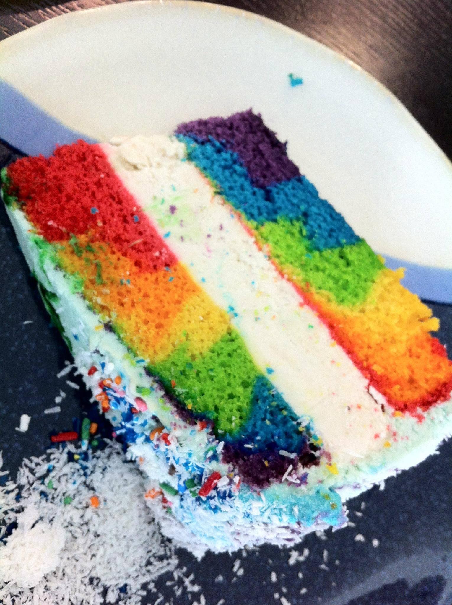 mike's coconut rainbow surprise ice cream cake