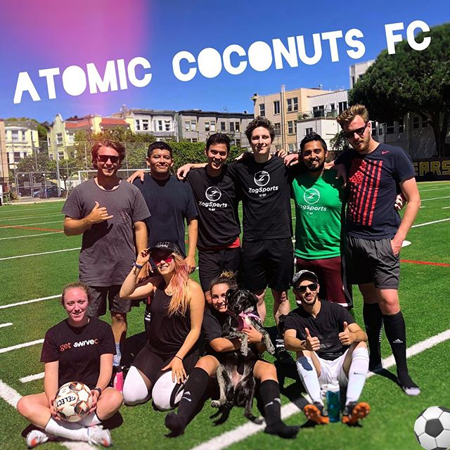 First game of summer season and Atomic Coconuts FC killed it this morning with a 5 GOAL comeback in the second half!  I'm so stoked to spend my Saturdays mornings playing with this crew! ⚽️💥🥥👌 Plus puppies! 🐕😍 Www.mikkaminx.com/atomic-coconuts  #dreamteam #AtomicCoconuts