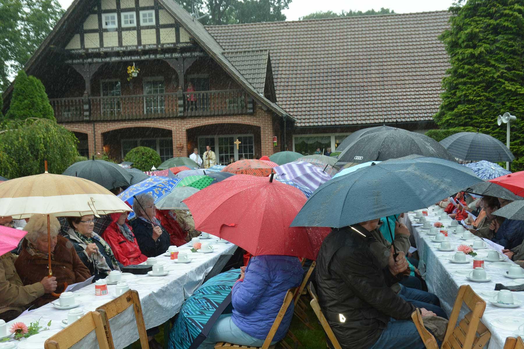 Ein Heer von Regenschirmen bestimmte das Bild im Garten des Hofes Ahrens. Foto: Christa Geers