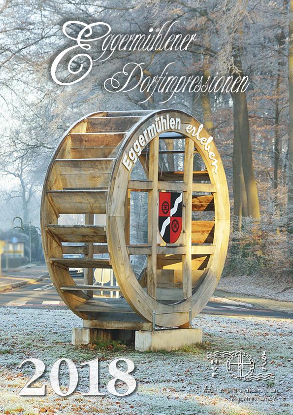 """Eine Winteraufnahme des Eggermühlener Kreisels ziert den Titel des Kalenders """"Eggermühlener Dorfimpressionen 2018"""".  Foto: Georg Geers"""